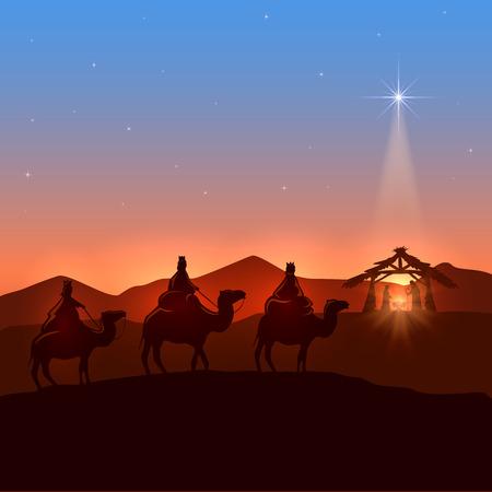pesebre: Fondo de Navidad con tres hombres sabios y brillante estrella, tema cristiano, ilustración.