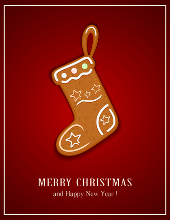 Gingerbread Christmas Stocking on red background, illustration. Illustration