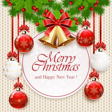 Vakantie decoraties met kerstballen, gouden klokken met rode strik, hulst bessen en spar takken op witte gebreide patroon, illustratie. Stockfoto - 48256882