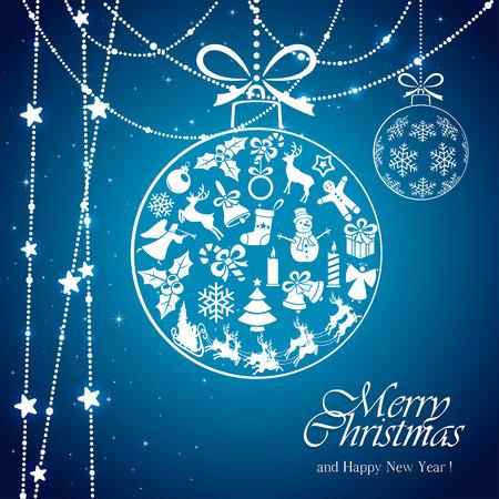 cajas navide�as: Fondo azul con la bola transparente de elementos de la Navidad y estrellas blancas, ilustraci�n.