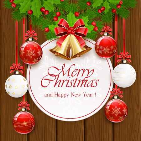 fir tree red: Holiday decorations with Christmas balls, golden bells, red bow, holly berry, and fir tree branches on wooden background, illustration.