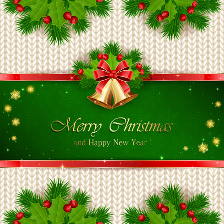 decorate: Green Christmas background with snowflakes, golden bells with red bow, holly berry, and fir tree branches on white knitted pattern, illustration.