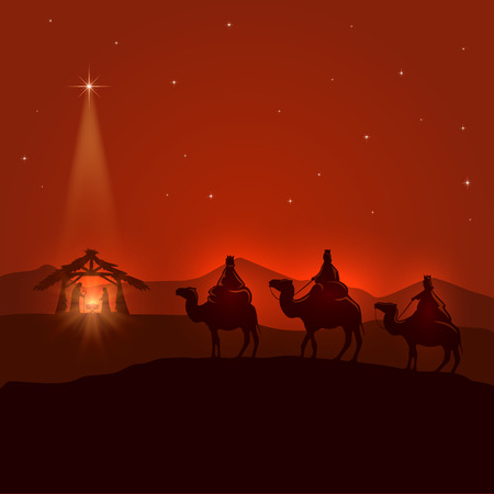 Night background with Christian Christmas scene, three wise men, birth of Jesus and shining star, illustration.