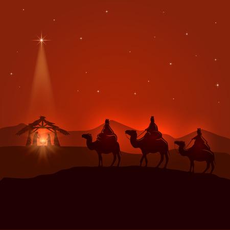 reyes magos: Fondo de la noche con la escena cristiana Navidad, tres hombres sabios, nacimiento de Jesús y brillante estrella, ilustración. Vectores