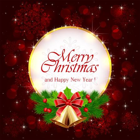 campanas navidad: Decoraciones para las fiestas de Navidad con campanas de oro, arco, acebo de bayas y ramas de �rboles de abeto en el fondo de color rojo brillante, ilustraci�n.