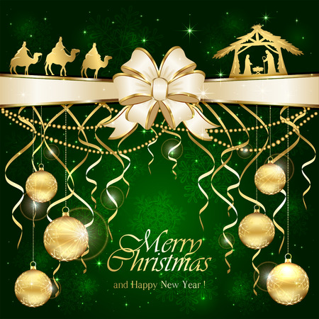 Green Christmas background with golden baubles and Christian scene with three wise men and the birth of Jesus, illustration.