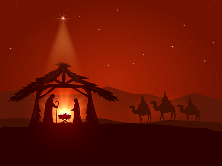 Christian theme, Christmas star and the birth of Jesus, illustration. Çizim