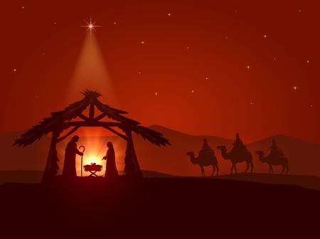 sacra famiglia: Tema cristiano, Stella di Natale e la nascita di Gesù, illustrazione.