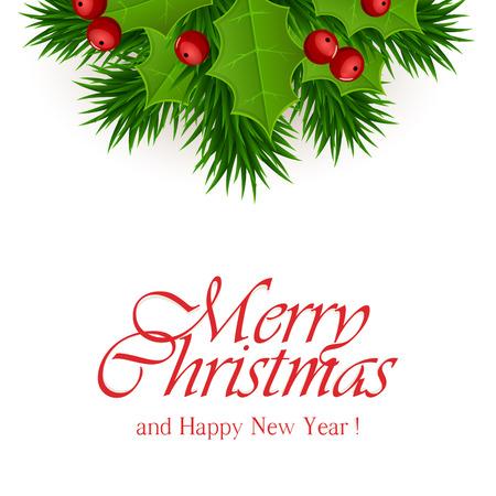 motivos navideños: Decoración de Navidad con ramas de acebo de bayas y de abeto blanco patrón de punto, la ilustración. Vectores