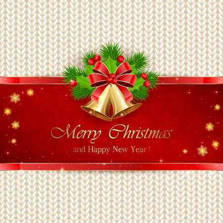 fir tree red: Christmas decorations with golden bells on red background, bow, holly berry and fir tree branches on white knitted pattern, illustration. Illustration