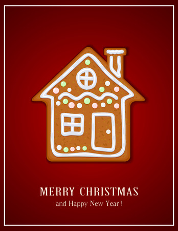 Christmas gingerbread house on red background, illustration.
