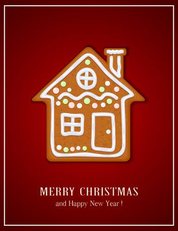 casita de dulces: casa de pan de jengibre de Navidad sobre fondo rojo, ilustración. Vectores