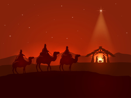 family with three children: Christian Christmas night, shining star, three wise men and the birth of Jesus, illustration.