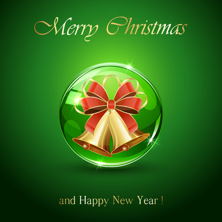 christmas bow: Christmas bells in sphere on green background, illustration.
