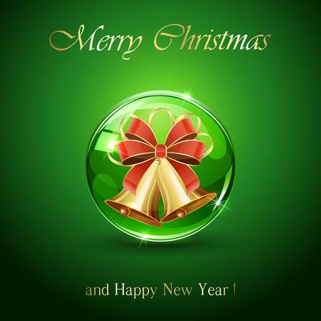 glass ornament: Christmas bells in sphere on green background, illustration.
