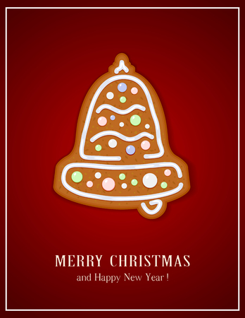 gingerbread cake: Gingerbread Christmas bell on red background, illustration.