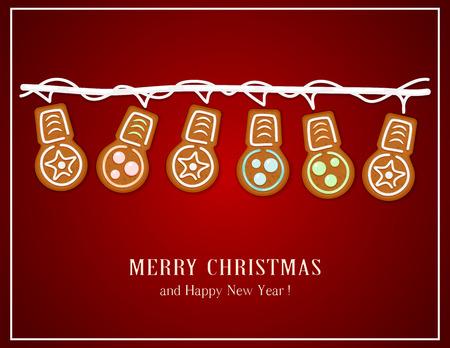 Gingerbread Christmas lights on red background, illustration.