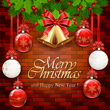 brick: Holiday decorations with Christmas balls, golden bells, red bow, holly berry, and fir tree branches on a brick wall background, illustration. Illustration