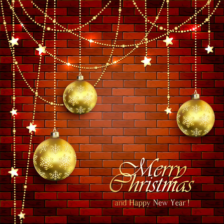 masonry: Background with Christmas balls and golden stars on a brick wall, illustration.