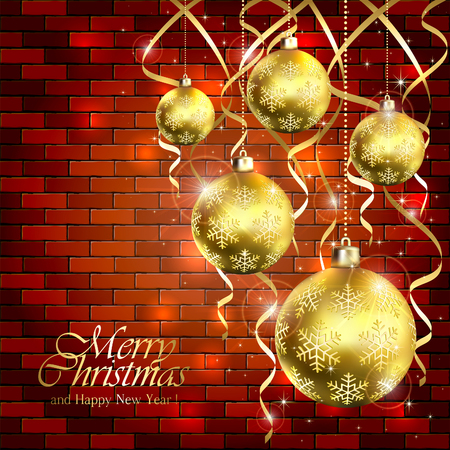 tinsel: Holiday background with golden Christmas balls and tinsel on a brick wall, illustration.