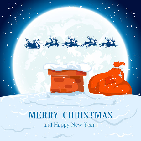 Kerstman in een slee vliegt over het dak, illustratie.