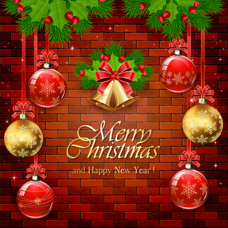 fir tree red: Decorations with red and gold Christmas balls, bells with red bow, holly berry, and fir tree branches on a brick wall background, illustration. Illustration
