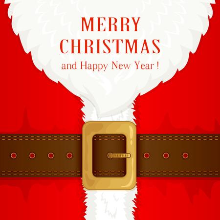 Baard en Santa pak met band en gouden gesp, illustratie.