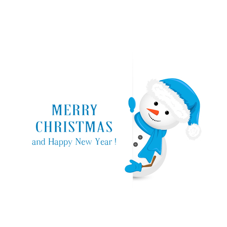 bonhomme de neige: Bonhomme de neige dans le chapeau bleu, détient voeux de Noël sur fond blanc, illustration. Illustration