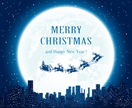 urban background: Santa flies over the city on Moon background, illustration.
