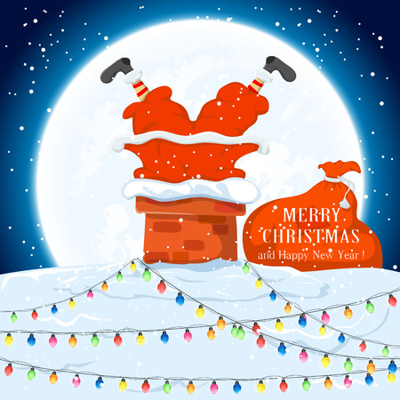 santa claus background: Santa Claus in the chimney and sack of gifts on the roof with Christmas lights,  illustration.
