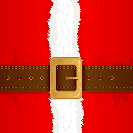 Christmas background of Santa suit with belt and gold buckle, illustration. Illustration