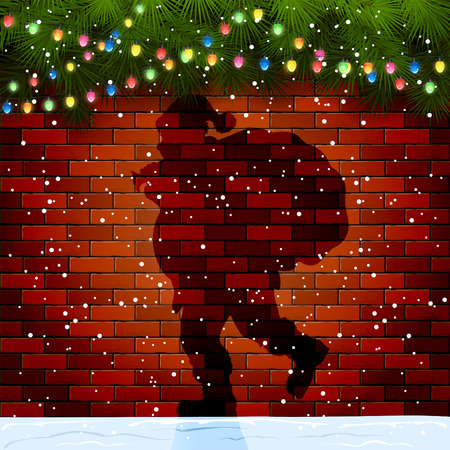 sacks: Christmas background with Shadow of Santa, fir tree branches and light bulbs on a brick wall, illustration.