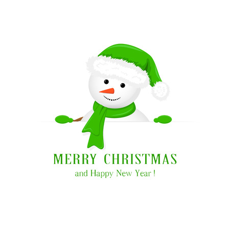 holding sign: Snowman in the green hat, holds Christmas greetings on white background, illustration.