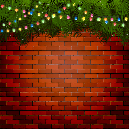 christmas lights: Christmas background with fir tree branches and light bulbs on a brick wall, illustration. Illustration