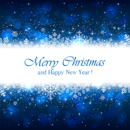 christmas blue: Blue Christmas background with white snowflakes and sparkling stars, illustration.