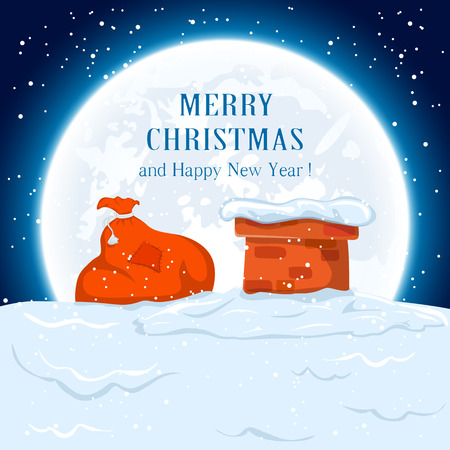 blue roof: Christmas background with sack of Santa on the roof,  illustration.