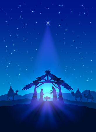 Christian thema, ster van Kerstmis op de blauwe hemel en de geboorte van Jezus, illustratie.