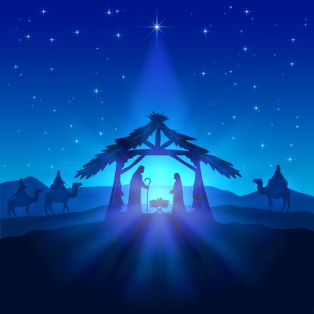 Kerststal, ster van Kerstmis op de blauwe hemel en de geboorte van Jezus, illustratie.
