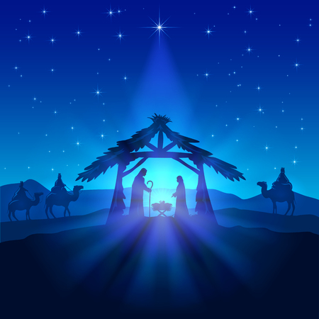 family with three children: Nativity scene, Christmas star on blue sky and birth of Jesus, illustration.