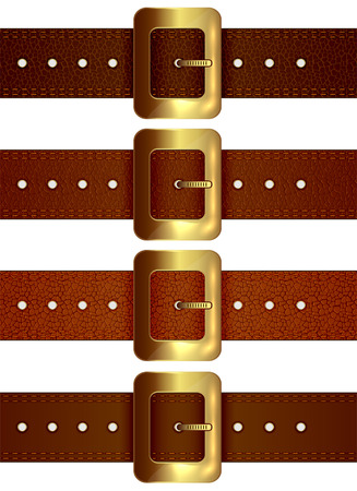 cowhide: Set of leather belts with golden buckle isolated on white background, illustration.