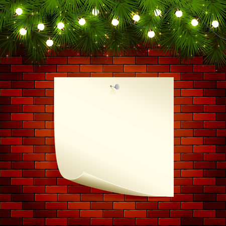 note paper background: Christmas background with fir tree branches, light bulbs and note paper on a brick wall, illustration.