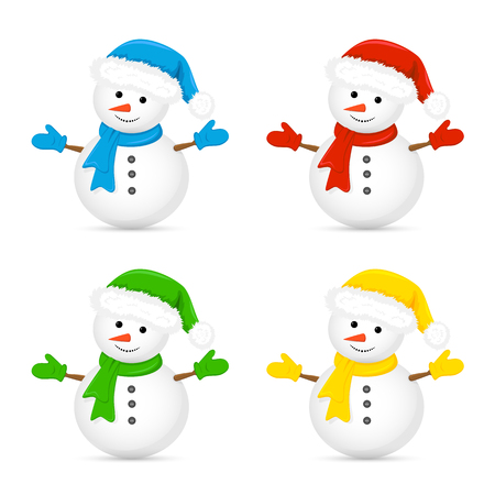 hand set: Christmas snowman in Santa hat and red scarf isolated on white background, illustration.
