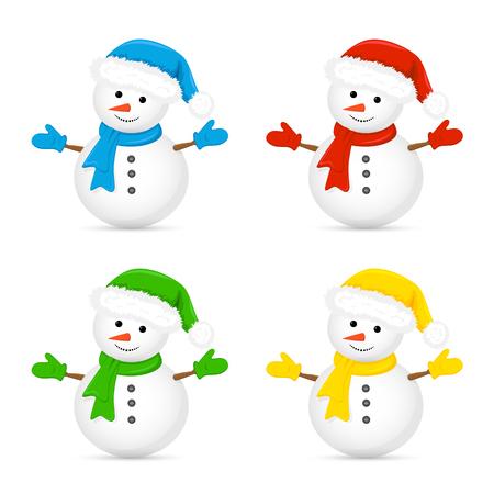 Kerst sneeuwpop in Santa hoed en rode sjaal op een witte achtergrond, illustratie. Stockfoto - 49461781
