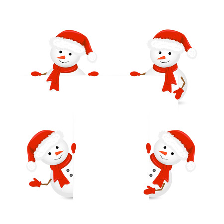 holding sign: Christmas theme with snowmen in Santa hats and red scarf are holding a blank piece of paper, illustration.