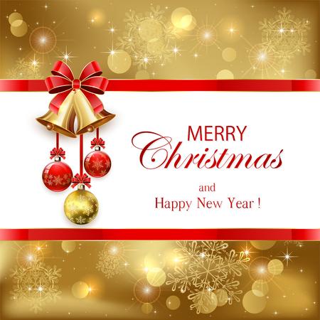 motivos navideños: Fondo de Navidad de oro con las bolas, campanas y el arco rojo, la ilustración.