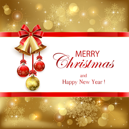 rahmen: Goldene Weihnachten Hintergrund mit Kugeln, Glocken und roter Schleife, Illustration.