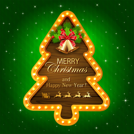 fir tree red: Abstract green background with lights on wooden banner in the form of Christmas tree, golden bells with red bow, holly berry and fir tree branches, illustration.