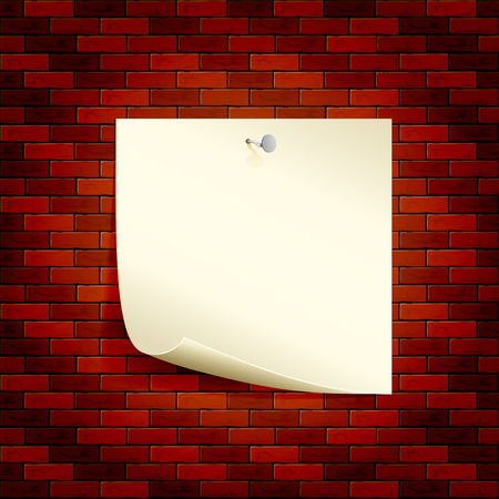 papel de notas: Fondo con el papel de nota a una pared de ladrillos, la ilustración. Vectores