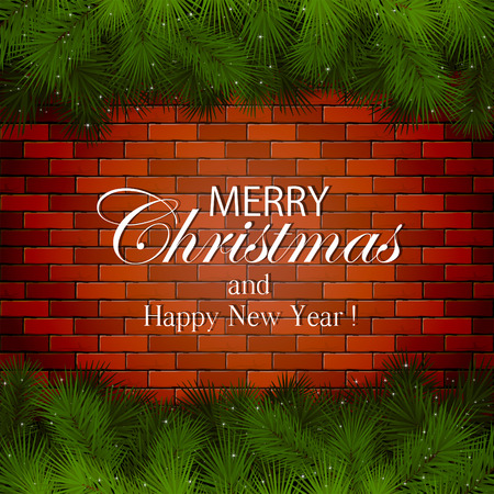 spruce: Inscription Merry Christmas with decorative spruce branches on a brick wall, illustration.