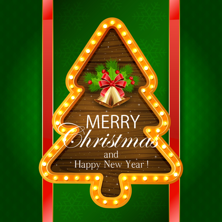 fir tree red: Abstract green background with snowflakes, retro lights on wooden banner in the form of Christmas tree, golden bells with red bow, holly berry, and fir tree branches, illustration.